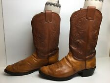 Mens Olathe Cowboy Smooth Ostrich Skin Brown Boots Size 12 D