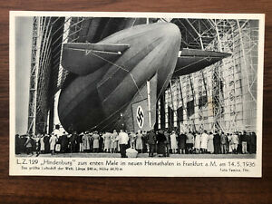 GERMANY OLD POSTCARD AIRSHIP HINDENBURG ZEPPELIN TO GERMANY 1936 !!