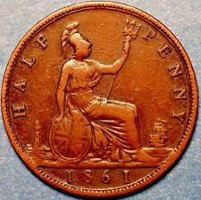 1861  United Kingdom. Half Penny  Victoria Queen .