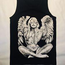 Marilyn Monroe Vintage Graphic Tank Top/TShirt Black Sexy Angel Wings  Small