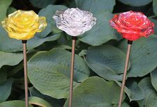 Solar Rose Flower Garden Lamp Stake Yard Lawn Decor Color Change LED Lights Set