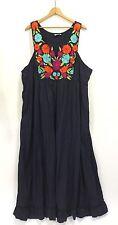 Eshakti Size 5X Plus Blue Embroidered Floral Long Maxi Dress Cotton Pockets Boho