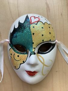 """5"""" Ceramic hand painted Face Mask wall hanging"""