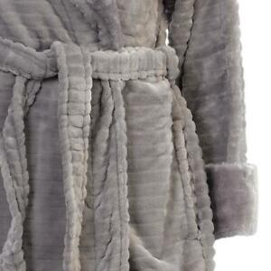 BNWT Slenderella HC6342 Ribbed Housecoat Taupe Dressing Gown (B25)