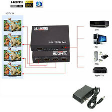 Full HD 3D 1080p HDMI Splitter 1X4 4 Port Hub Repeater Amplifier v1.4 1 in 4 out