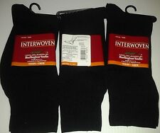 Interwoven by Burlington, Nylon Crew Sock, Black, 3 Pair Lot