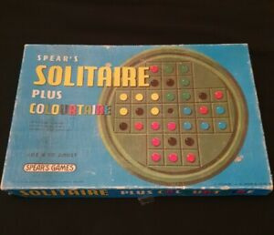 SPEARS SOLITAIRE PLUS COLOURTAIRE - MADE IN ENGLAND - 1970 VINTAGE BOARD GAME
