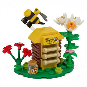 Beehive - Inc Bee, Honey Jar & Flowers | Custom kit made with real LEGO Bricks