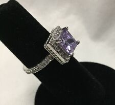 Amethyst Princess Cut Solitaire Ring 9x9mm CZ Eternity Band Platinum Plated 7
