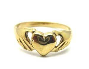 9ct Yellow Gold Baby / Child Claddagh Sacred Heart Ring