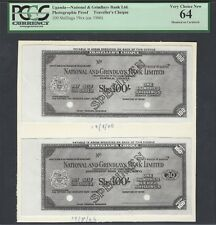 Uganda - 100 Shillings ND(1966) Traveller's Cheque Photographic Proof UNC