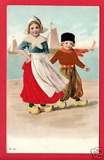DUTCH CHILDREN EMBOSSED SILK SKIRT BOY'S JACKET & HAT    POSTCARD