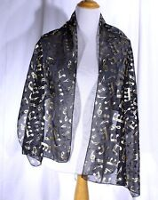 Vtg Musical Notes Scarf Black With Gold and Silver Toned Music Notes 19.5 x 60""