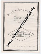 Neuländer Brauerei Kahl /Malzfabrik Apfeld Neiße Nysa Schlesien Reklame 1925