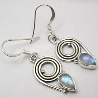 SPIRAL Earrings ! 925 Solid Silver BLUE FIRE RAINBOW MOONSTONE Jewelry 1.4""
