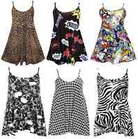 Women Ladies Cami Printed Swing Flared summer Mini Dress Long Tops Plus Size8-26