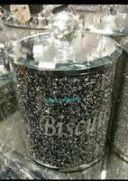 Biscuit Jar Black Crushed Crystal Cookies Barrel Diamante Holder Storage