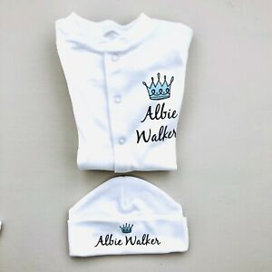 PERSONALISED boys baby clothing PRINCE CROWN sleepsuit & hat baby shower gift