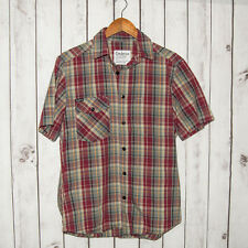 Cadence Collection Men's Short Sleeve Button Front Shirt Gray Red Plaid Sz Large