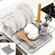 Large Dish Drainer Metal Wire Cutlery Draining Holder Plate Rack Kitchen Sink l