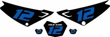 Yamaha XTZ 125 Custom Pre-Printed Black Backgrounds Blue Numbers