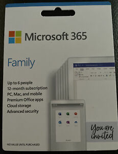 Microsoft 365 Family Software - 12 Months, 6 Users