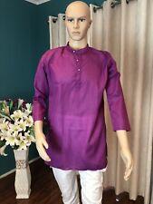 """36"""" XS Sherwani Suit Indian Bollywood Mens Kurtha Purple Cotton Outfit Kurta KS7"""
