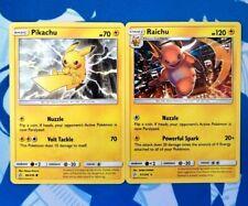 Pikachu [66/236] + Raichu [67/236] SM Cosmic Eclipse, Mint/NM, Pokemon TCG