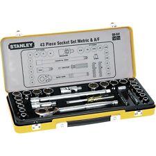 "Stanley 43pce Metric & Imperial (AF) Socket Set 1/2"" & 1/4"" Drv #89.517"