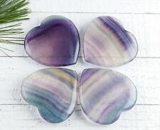 Blue & Purple FLUORITE Crystal Heart - One 6cm Fluorite Heart Stone E1244