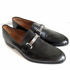C-1408104 New Bally Lebel Black Calf Plain Leather Loafers Shoes Size US 10