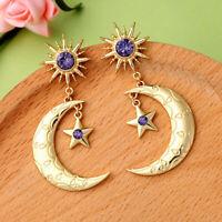 Big Gold Star Moon Women Elegant Fashion Earrings Drop Dangle Blue Crystal