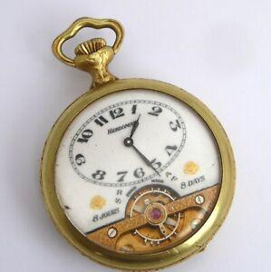 Antique Hebdomas Exposed Mechanical Movement Pocket Watch Needs Work Farm Scene