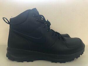 Nike Manoa Leather Boots Triple Black 454350 003 Men's Size 10