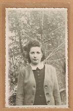 Carte Photo vintage card RPPC femme robe veste forêt mode fashion kh070