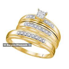 diamond .20 carat 3-ring bridal 14K gold engagement wedding band bride groom set