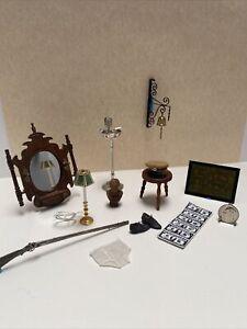 Dollhouse Miniature Vintage Gentlemans Lot Artisan Military Hat Mirror Lamp 1:12