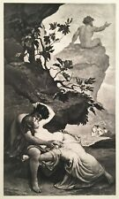 "• 1892 ORIGINAL PHOTOGRAVURE • "" ACIS AND GALATEA "" • MYTHOLOGY •"