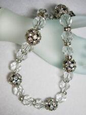 Vintage ART DECO Faceted Crystal Rhinestone Encrusted Rondelle Choker Necklace
