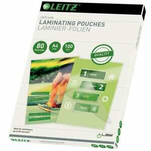 Leitz 100x Laminating Pouches 80 Microns A4 Office Supply Protective Pouch