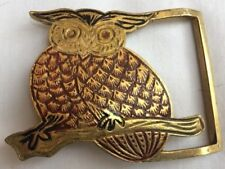 Vintage Painted Owl Brass Belt Buckle From India Never Used