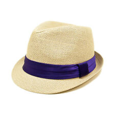 Classic One Size Natural Fedora Straw Hat w/ Ribbon Band - Diff Color Band Avail