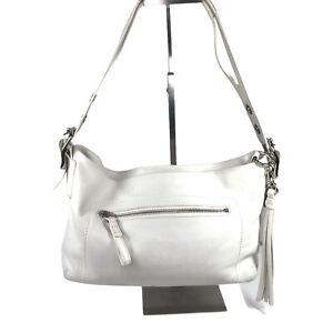 Coach East West Legacy Women's Duffle Tassel Gray White Leather Purse Bag #1417