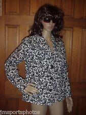 Liz Claiborne Blazer Jacket Coat Black & White Floral Women's Large