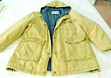 william barry vintage coat winter hooded size l zippered brown blue lined parka