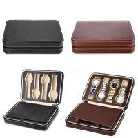Portable 2/8 Grids Travel Watch Box PU Leather Storage Zipper Case Organizer