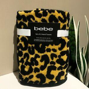 SET OF 2 New bebe Hand Towels Soft Cotton Yellow Black Leopard Print
