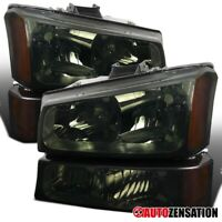 For 2003-2006 Chevy Silverado Avalanche Smoke Headlights+Bumper Lamps+Amber