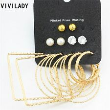 6 Pairs/Set 3 Gold Plated Hoop Earrings and 3 stud earrings.
