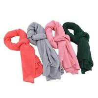 Women Scarves Candy Color Cotton Long Crinkle Soft Scarf Shawl Wrap Scarf S